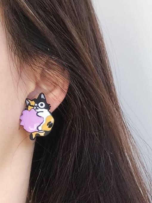 Five Color Alloy Enamel Cat Cute Stud Earring 1