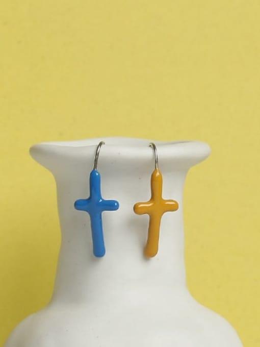 ACCA Brass Enamel Cross Vintage Hook Earring 2