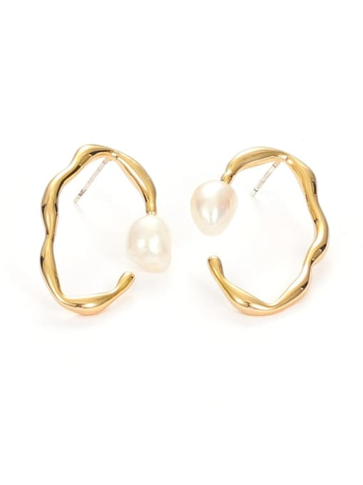 Five Color Brass Imitation Pearl Geometric Vintage Stud Earring 2