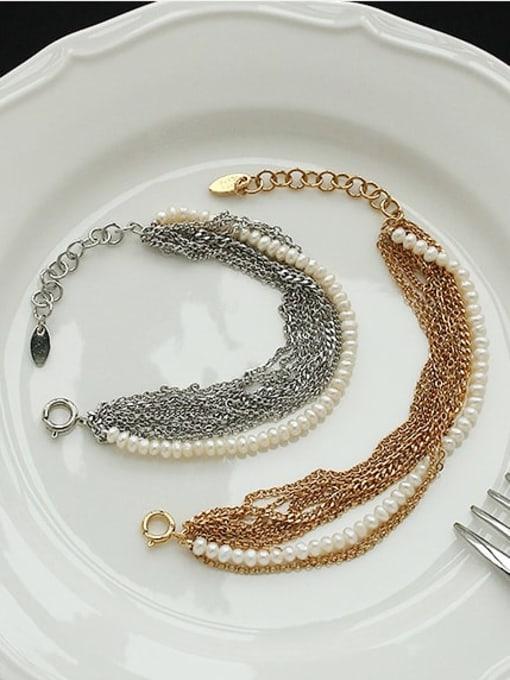 ACCA Brass Imitation Pearl Geometric Vintage Strand Bracelet 2