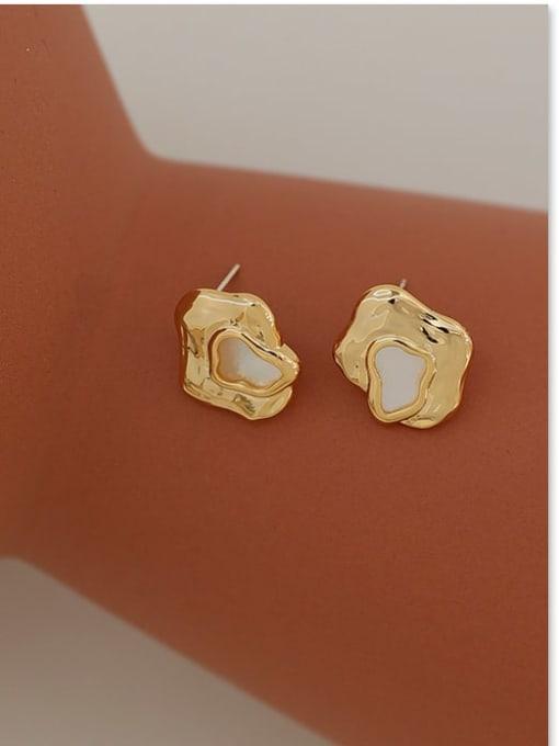 Five Color Brass Shell Geometric Vintage Stud Earring