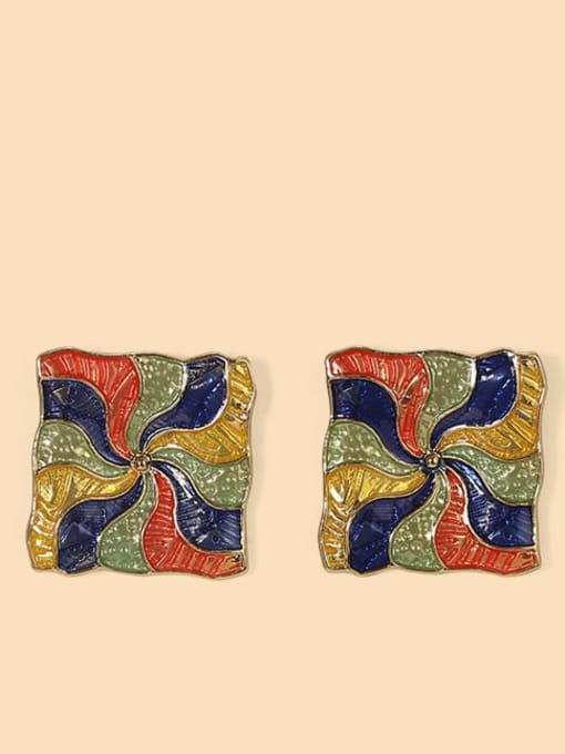 gold Alloy Enamel Geometric Ethnic Stud Earring