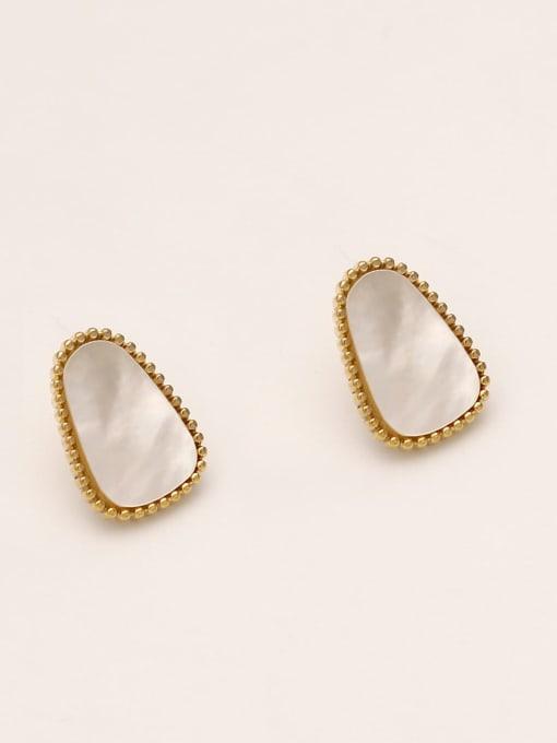 HYACINTH Brass Shell Geometric Minimalist Stud Earring 2