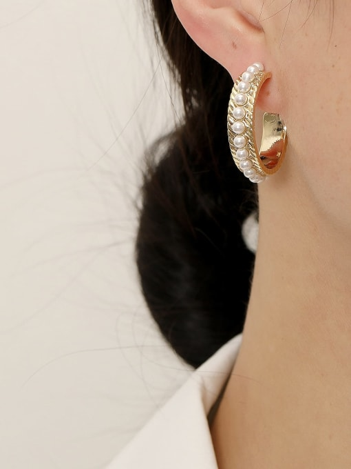 HYACINTH Brass Imitation Pearl Geometric Hip Hop Hoop Earring 1