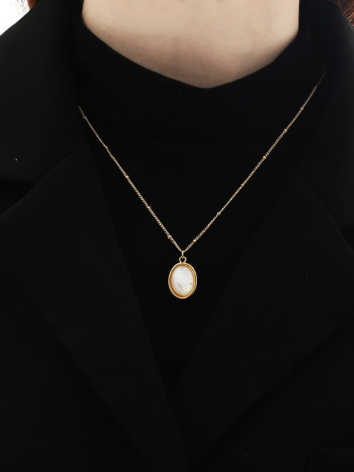 TINGS Brass Shell Geometric Vintage Necklace 1