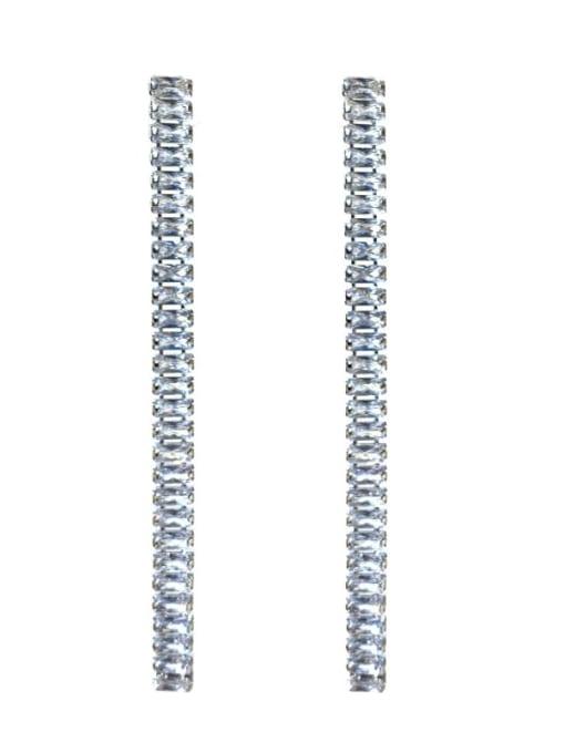 SUUTO Brass Cubic Zirconia Geometric Minimalist Drop Earring 1