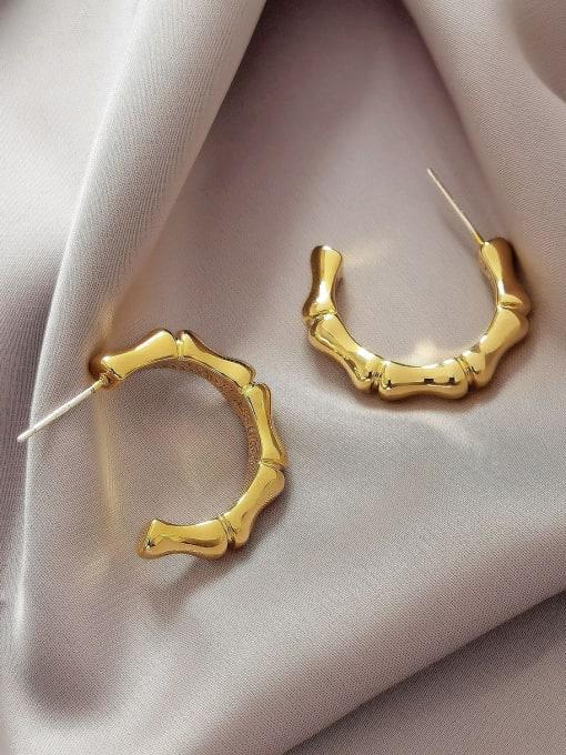 HYACINTH Brass Geometric Vintage Hoop Earring 3