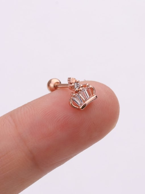 Rose Gold 2#(Single) Brass Cubic Zirconia Irregular Cute Stud Earring(Single)