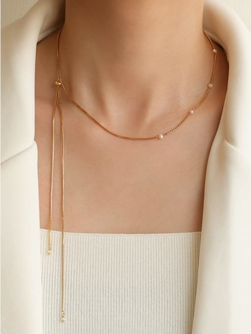 Five Color Brass Imitation Pearl Geometric Hip Hop Lariat Necklace 1