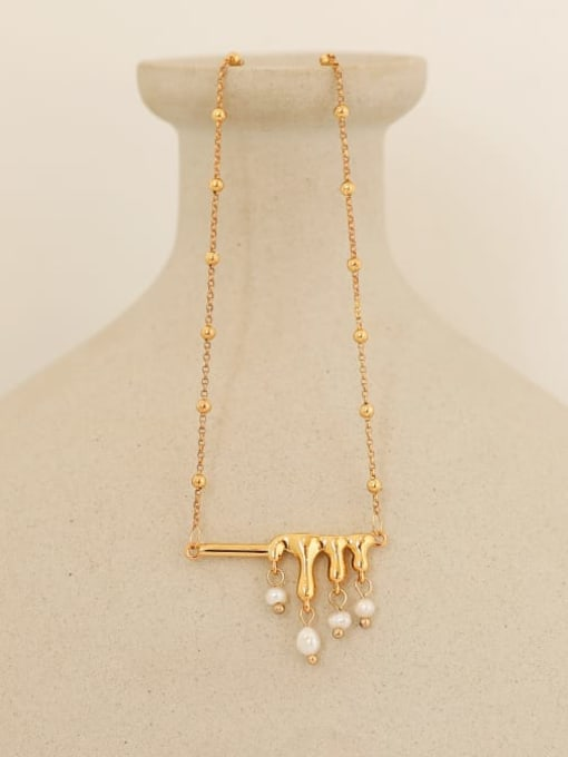 Five Color Brass Freshwater Pearl Geometric Vintage Necklace 0