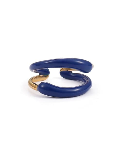 Double layer (non adjustable) Brass Enamel Star Minimalist Band Ring