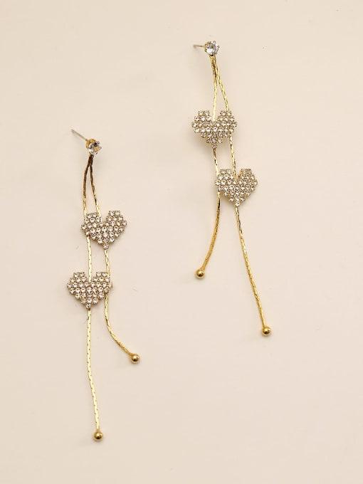 HYACINTH Brass Rhinestone Tassel Bohemia Threader Earring