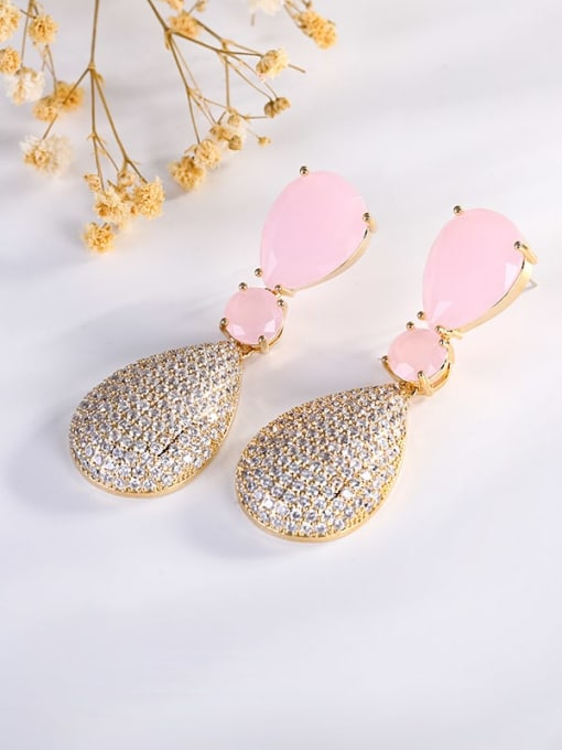 Pink Jade Brass Cubic Zirconia Water Drop Luxury Drop Earring