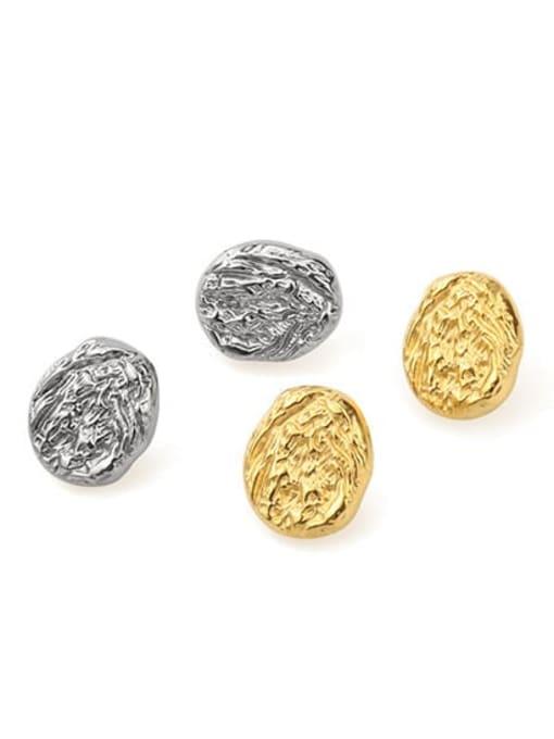Titanium steel cave convex pattern Brass Round Vintage Stud Earring