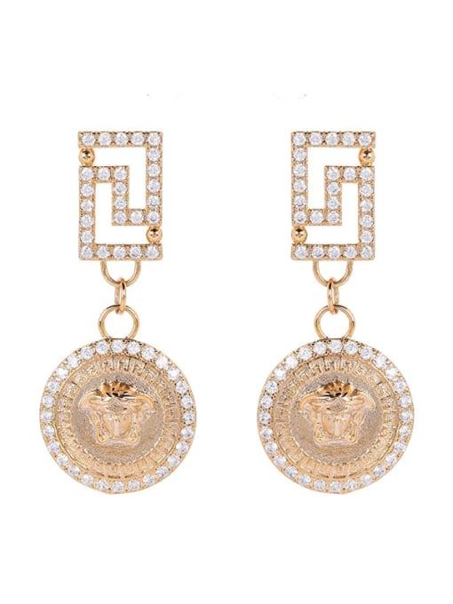OUOU Brass Cubic Zirconia Geometric Vintage Huggie Earring
