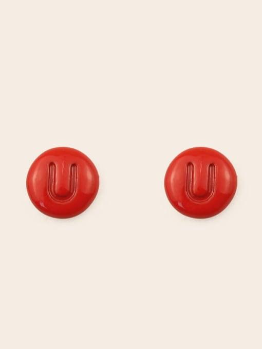 U Alloy Enamel Letter Minimalist Stud Earring
