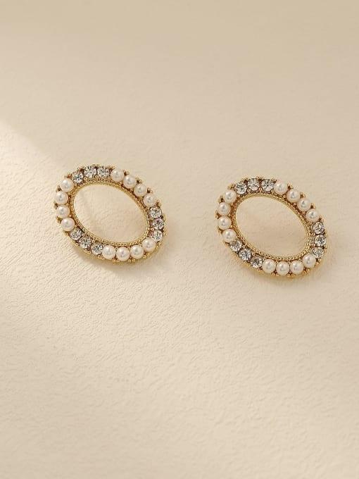 14k Gold Brass Imitation Pearl Oval Vintage Stud Trend Korean Fashion Earring