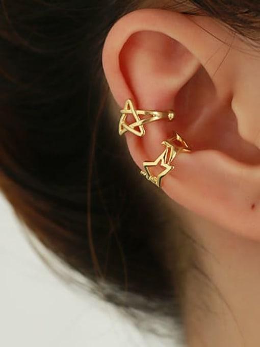 ACCA Brass Hollow geometry Hip Hop Single Earring 1