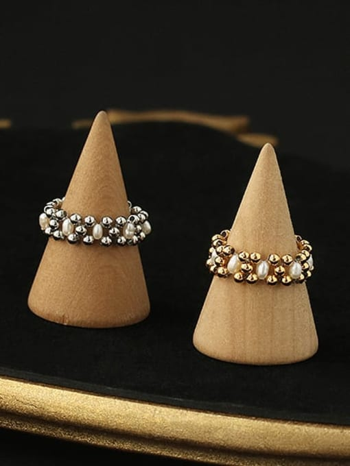 ACCA Brass Imitation Pearl Geometric Vintage Stackable Ring 2