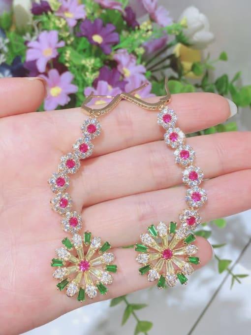 OUOU Brass Cubic Zirconia Flower Luxury Huggie Earring 1