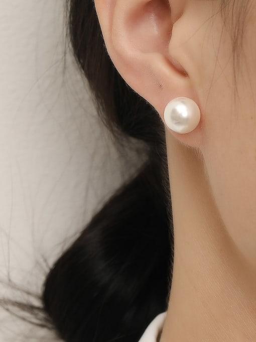 HYACINTH Brass Imitation Pearl Round Minimalist Stud Trend Korean Fashion Earring 1