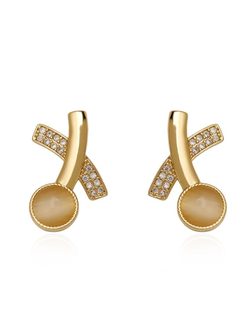 HYACINTH Brass Cats Eye Geometric Minimalist Stud Earring