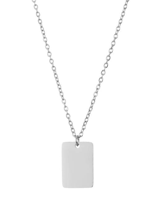 Desoto Titanium Steel Rectangle Minimalist  Trpe Lettering  Pendant Necklace 2