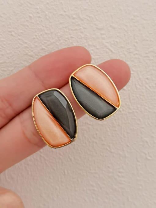 HYACINTH Brass Resin Geometric Vintage Stud Earring 3