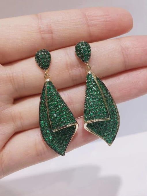 green Brass Cubic Zirconia Irregular Vintage Drop Earring