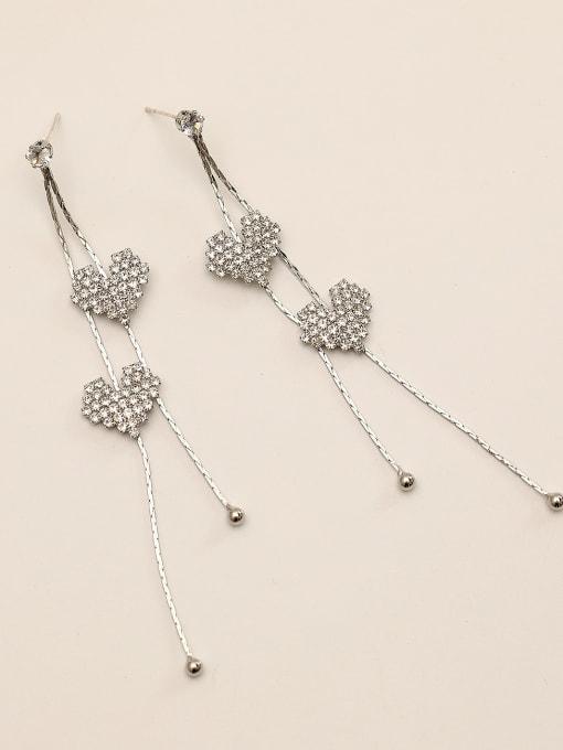 white  k Brass Rhinestone Tassel Bohemia Threader Earring