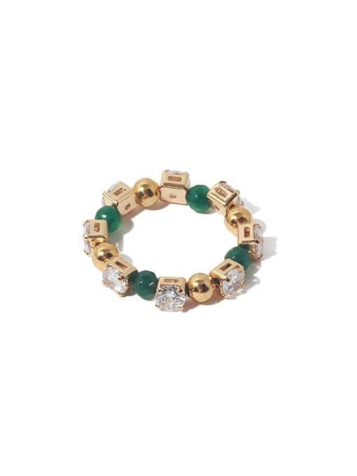 Gold (adjustable elastic rope) Brass Cubic Zirconia Geometric Vintage Bead Ring