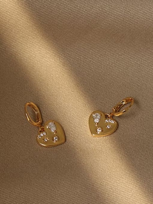 ACCA Brass Cubic Zirconia Heart Vintage Huggie Earring 4