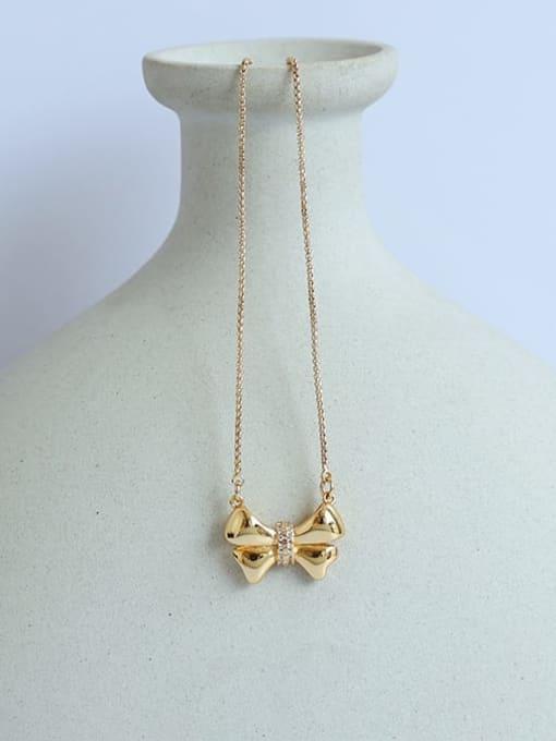 Five Color Brass Bowknot Minimalist  Pendant Necklace 2