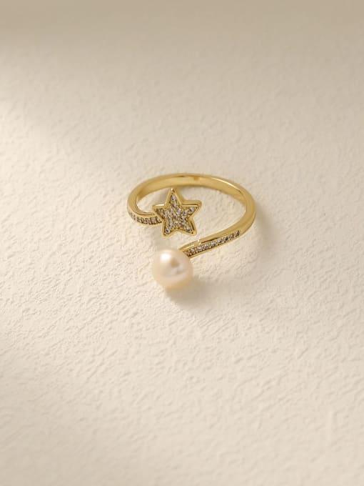 HYACINTH Brass Cubic Zirconia Star Cute Band Ring 0