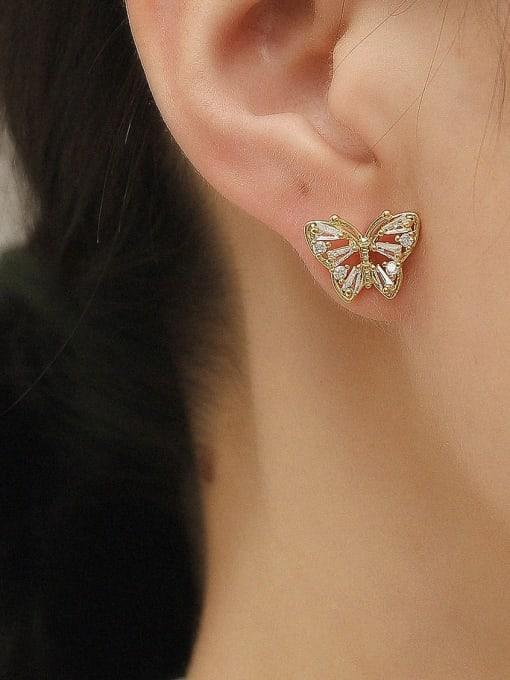 HYACINTH Brass Cubic Zirconia Butterfly Vintage Stud Earring 1