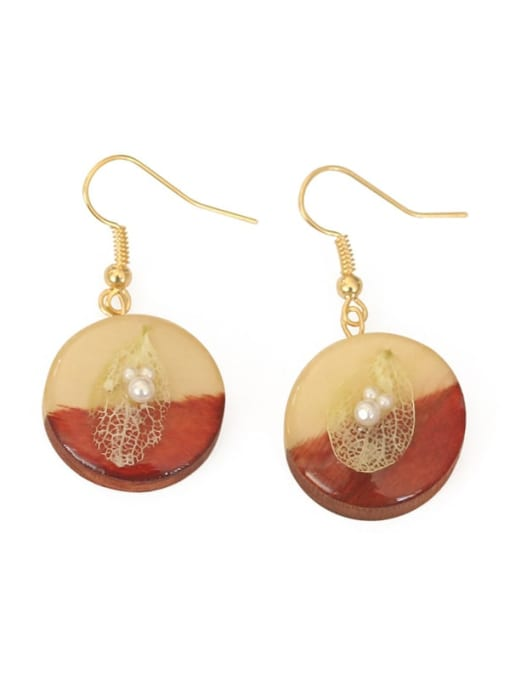 Five Color Alloy Wood Round Cute Hook Earring 2