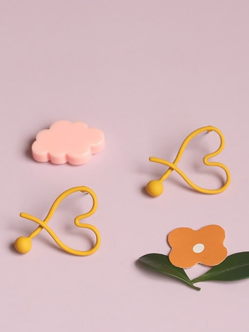 Five Color Alloy Enamel Heart Minimalist Stud Earring 0
