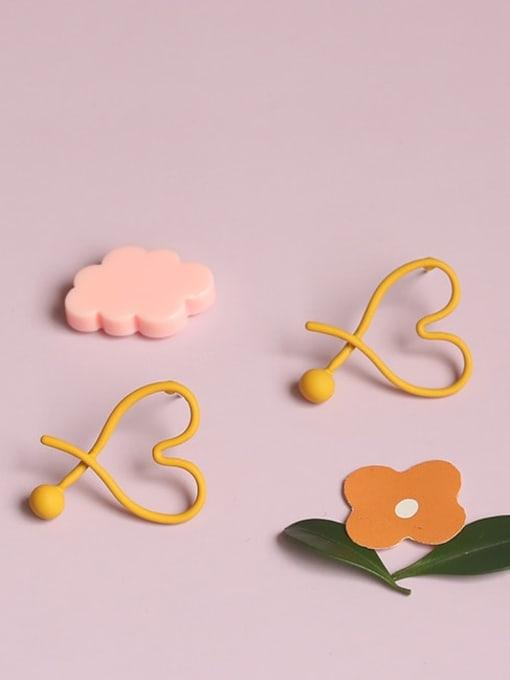 Five Color Alloy Enamel Heart Minimalist Stud Earring