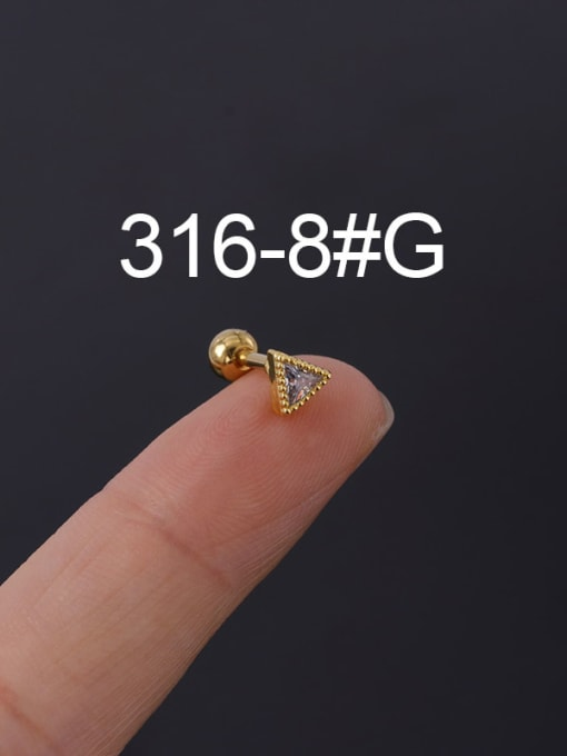 8G Stainless steel with Cubic Zirconia Ear Bone Nail/Puncture Earring