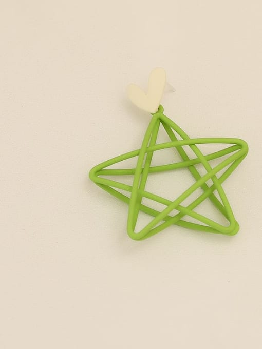 Green ear needle Copper Enamel Star Minimalist Stud Earring