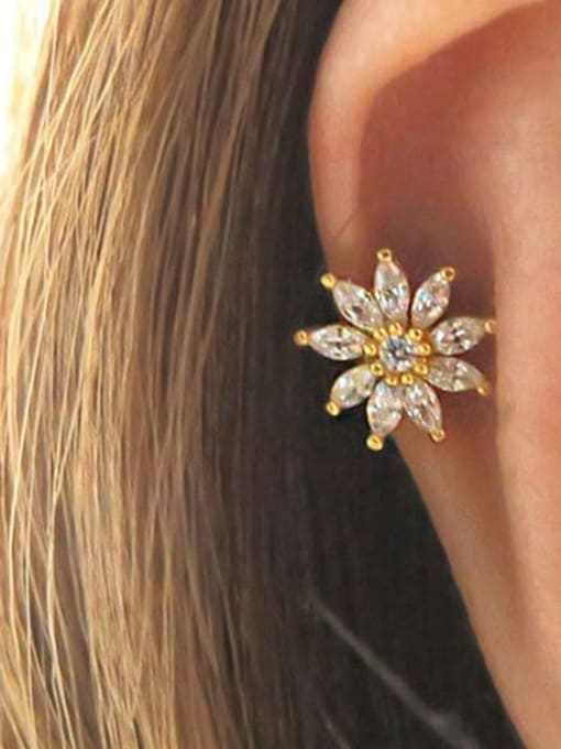 HISON Brass Cubic Zirconia Flower Cute  Stud Earring(single) 3