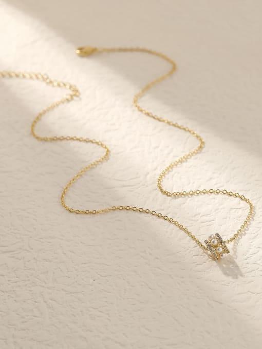HYACINTH Brass Cubic Zirconia Geometric Vintage Trend Korean Fashion Necklace 2