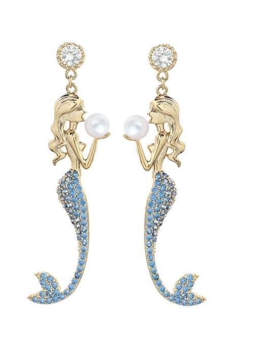 blue Brass Cubic Zirconia Irregular Cute Drop Earring