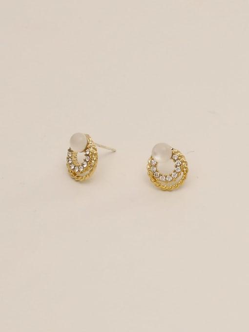 HYACINTH Brass Imitation Pearl Round Ethnic Stud Earring 3