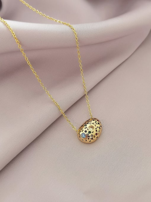 14k gold Brass Cubic Zirconia Geometric Vintage Necklace