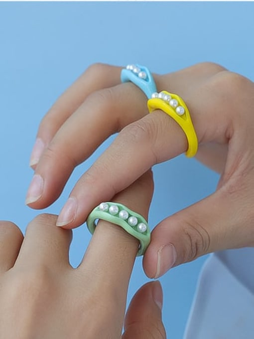 Five Color Zinc Alloy Imitation Pearl Geometric Minimalist Band Ring 1