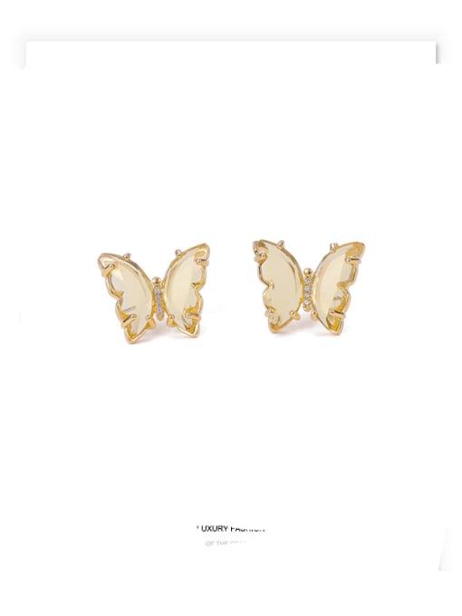 canary yellow Brass Cubic Zirconia Butterfly Minimalist Stud Earring