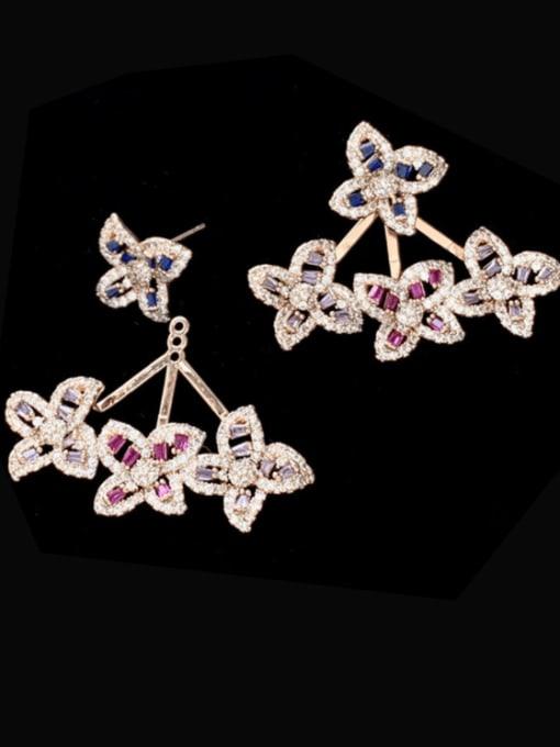 YYK Brass Cubic Zirconia Flower Trend Stud Earring 2