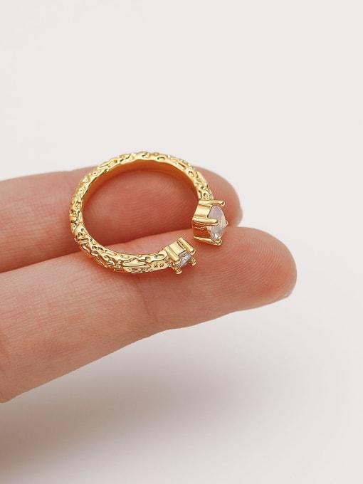 HYACINTH Alloy Glass Stone Geometric Minimalist Band Ring 2