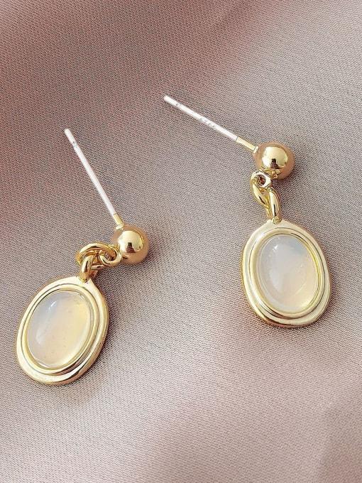 14k Gold Brass Cats Eye Geometric Vintage Drop Earring